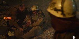 Chernobyl - Les pompiers se trouve à côté de graphite qui est hautement radioactif